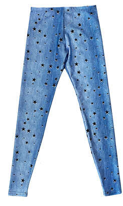 Terez Girl's Starry Denim Leggings, Size 7-16