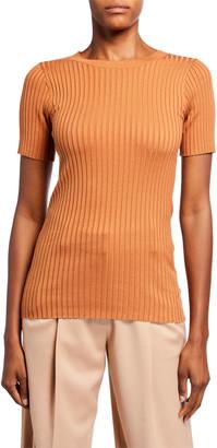 Sies Marjan Ribbed Silk Knit T-Shirt