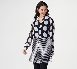 Susan Graver Printed Sheer Chiffon Button Front Shirt with Knit Tank