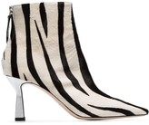 Wandler Lina 75mm zebra print ankle boots