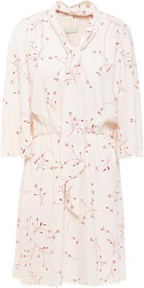 Joie Dakoda Gathered Floral-print Crepe De Chine Mini Dress