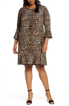 MICHAEL Michael Kors Animal Print Flounce Hem Shift Dress