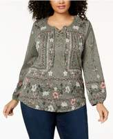Style&Co. Style & Co Plus Size Floral-Print Peasant Top, Created for Macy's