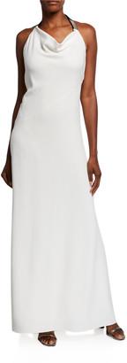 Brunello Cucinelli Silk Cady Cowl-Neck Halter Gown, White