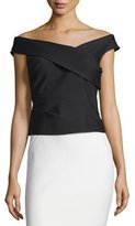 Phoebe Couture Draped Off-The-Shoulder Scuba Top, Black