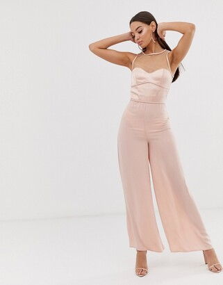 The Girlcode sheer satin wide leg jumpsuit in pink