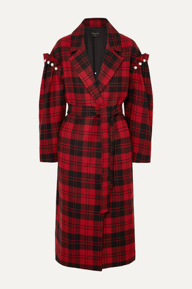 Mother of Pearl Net Sustain Webb Belted Faux Pearl-embellished Checked Wool Coat - Red