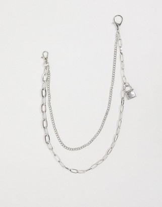 Designb London DesignB Exclusive double layered jean chain in silver with oval links and padlock charm