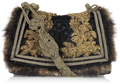 Roberto Cavalli Squirrel-trimmed brocade shoulder bag