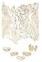 Charlotte Russe Floral Cuff & Embellished Rings Set