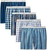 Fruit of the Loom Men's Exposed Waistband Woven Fashion Boxers(Pack of 5)