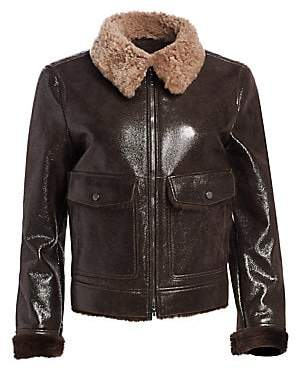 Brunello Cucinelli Women's Buffered Leather & Shearling Aviator Jacket