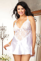 Yours Clothing DREAMGIRL White Lace Trim Babydoll & Thong Set