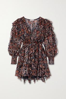 Ulla Johnson Natalia Ruffled Printed Fil Coupe Silk And Lurex-blend Mini Dress - Black