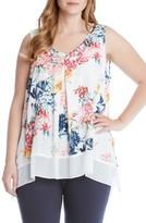 Karen Kane Plus Size Women's Karen Karen Contrast Hem Crepe Handkerchief Top