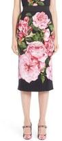 Dolce & Gabbana Dole&Gabbana Rose Print Cady Pencil Skirt