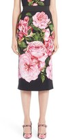 Dolce & Gabbana Women's Dole&gabbana Rose Print Cady Pencil Skirt