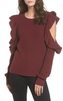BP Women's Ruffle Cold Shoulder Sweater