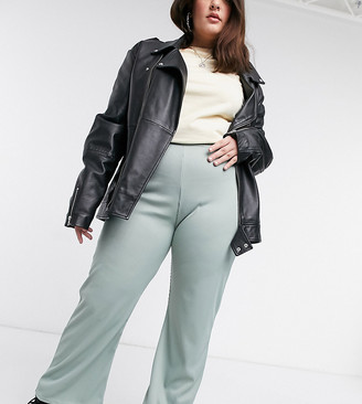 Collusion Plus exclusive heavy rib flares in sage green