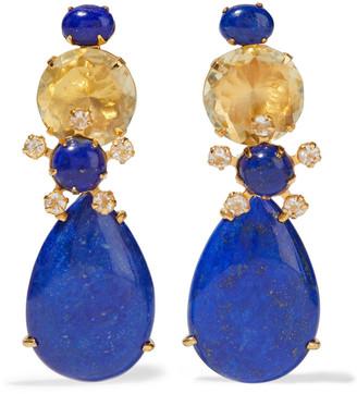Bounkit Convertible 14-karat Gold-plated, Lapis Lazuli And Quartz Earrings