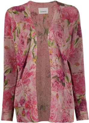 Laneus Floral Metallic-Knit Cardigan