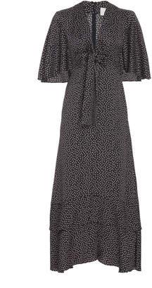 Alexis Kasany Polka-Dot Tie-Front Midi Dress