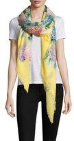 Gucci Hydrangea-Print Cashmere & Silk Scarf