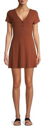 No Boundaries Juniors' Button Front V-Neck Dress