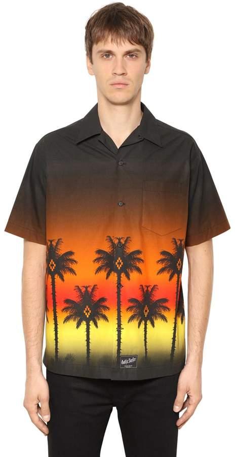 Marcelo Burlon County of Milan Red Palm Print Poplin Short Sleeve Shirt