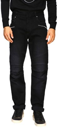 Balmain Jeans Biker Jeans In Slim Stretch Denim With Logo
