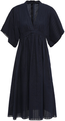 Adam Lippes Gathered Cotton And Silk-blend Jacquard Dress