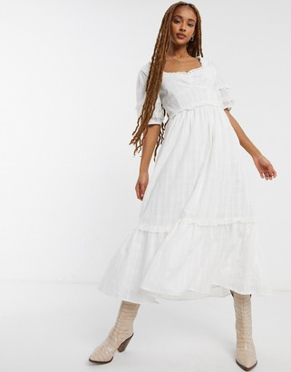 Emory Park maxi tea dress with sweetheart neck in fine stripe cotton