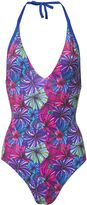 Matthew Williamson Blue Bolivian Bloom V-Neck Swimsuit