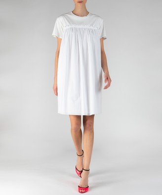 Atm Mix Media Crew Neck Short Sleeve Dress - White