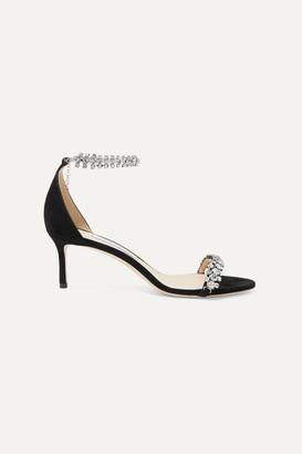 Jimmy Choo Shiloh 60 Crystal-embellished Suede Sandals - Black