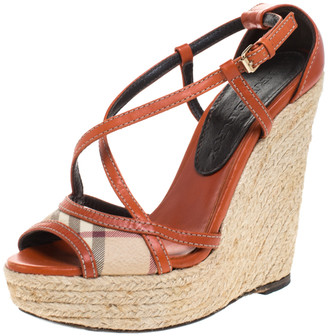 Burberry Orange Leather And Novacheck Canvas Espadrille Peep Toe Wedge Sandals Size 36