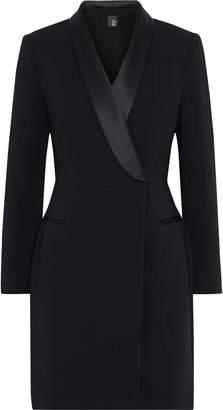 Iris & Ink + Julia Restoin Roitfeld Julia Satin-trimmed Cady Mini Tuxedo Dress