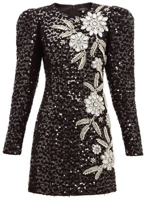 Andrew Gn Embellished Puff-sleeve Tweed Mini Dress - Womens - Black Silver