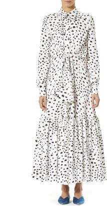 Carolina Herrera Dotted Ruffle-Hem Maxi Shirtdress
