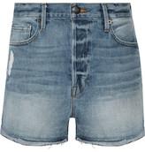 Frame Le Original Tulip Distressed Denim Shorts - Light denim