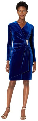 Calvin Klein Faux Wrap Velvet Dress with Side Tab (Sapphire) Women's Dress