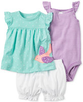 Carter's 3-Pc. Bird Top, Bodysuit & Bubble Shorts Set, Baby Girls (0-24 months)