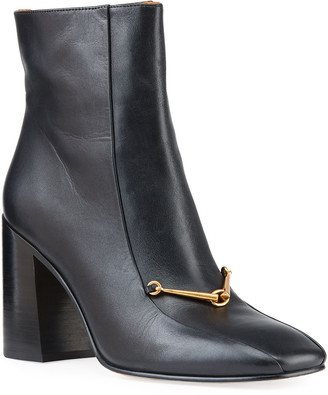 Tory Burch Equestrian Link Leather Zip Ankle Boots