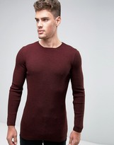 Asos Longline Ribbed Sweater in Muscle Fit