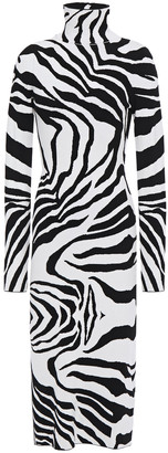 Just Cavalli Zebra-jacquard Turtleneck Midi Dress