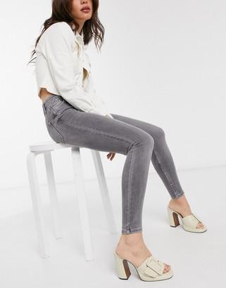 Bershka skinny high waist jean in gray