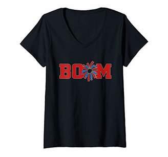Womens Boom July 4th T-shirt V-Neck T-Shirt