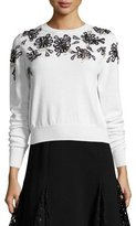 Oscar de la Renta Beaded Floral-Embellished Sweater, White/Black
