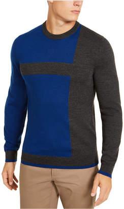 Alfani Men Merino Blend Blocked Crewneck Sweater