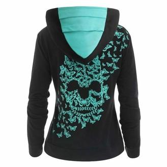 Celucke Womens Cotton Butterfly Skull Print Hoodie T-Shirt Tops Sweatshirt Black